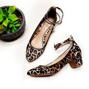 Anthro Pilcro Calf Hair Leopard Print Ankle Heels